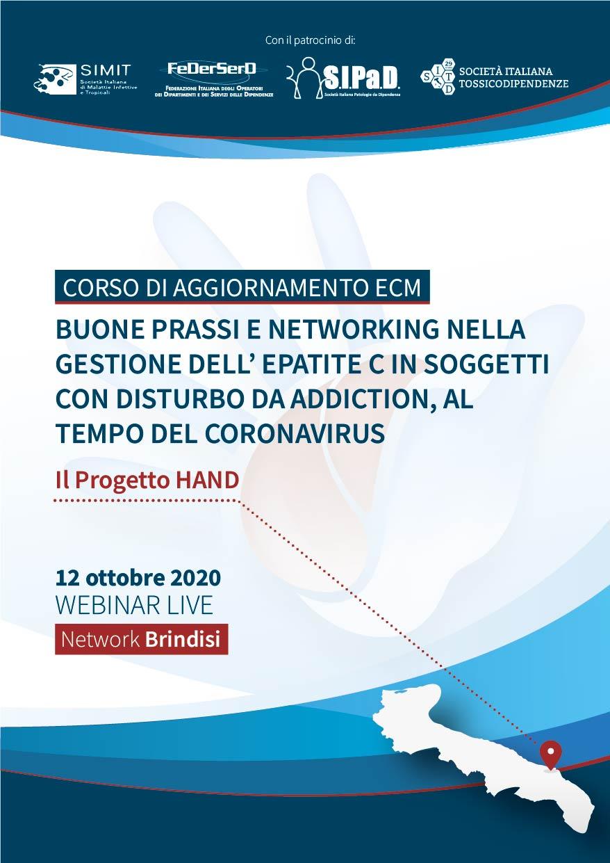Course Image  # NETWORK BRINDISI - Buone prassi e networking nella gestione dell'epatite C in soggetti con disturbo da Addiction, al tempo del coronavirus - Il Progetto HAND