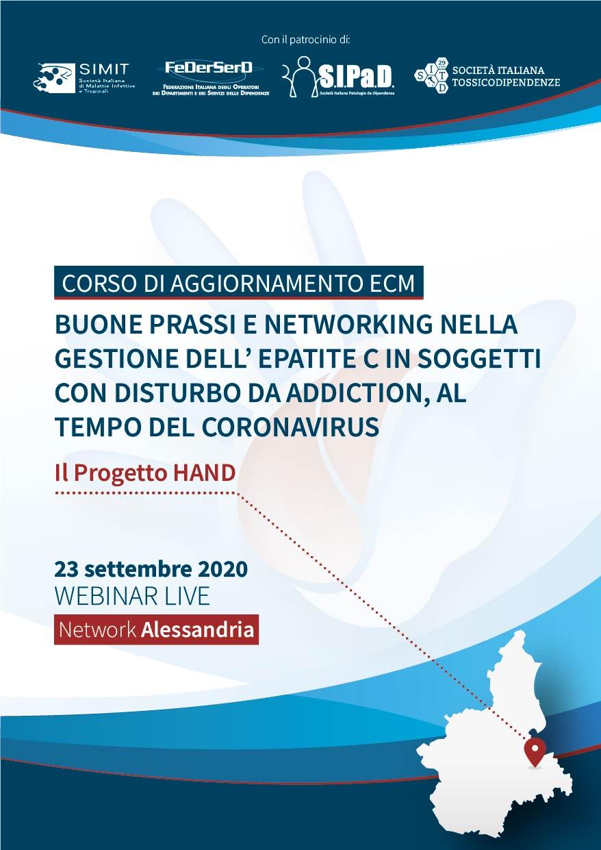 Course Image  # NETWORK ALESSANDRIA - Buone prassi e networking nella gestione dell'epatite C in soggetti con disturbo da Addiction, al tempo del coronavirus - Il Progetto HAND